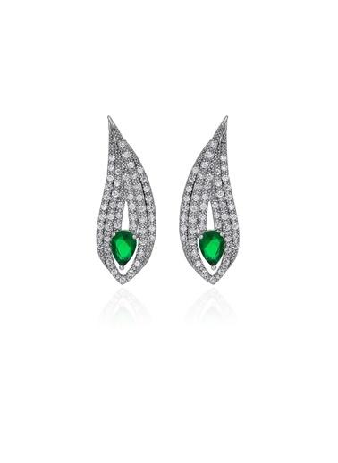 2,70 ct Pırlanta Efekt  Altın  Peacock Drop Emerald Küpe Tophills